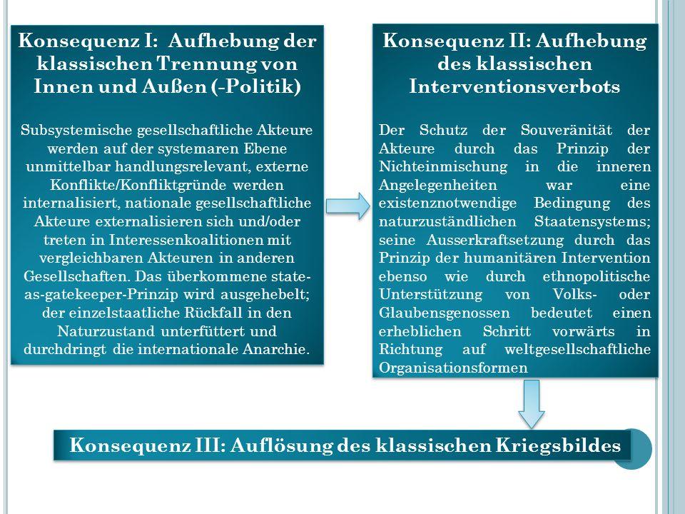 Konsequenz I: Aufhebung der klassischen Trennung von Innen und Außen (-Politik) Subsystemische gesellschaftliche Akteure werden auf der systemaren Ebe
