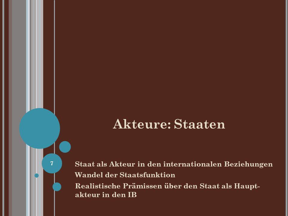 Akteure: Staaten Staat als Akteur in den internationalen Beziehungen Wandel der Staatsfunktion Realistische Prämissen über den Staat als Haupt- akteur