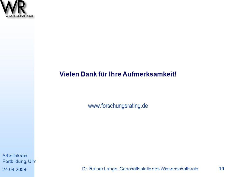 Arbeitskreis Fortbildung, Ulm 24.04.2008 Dr. Rainer Lange, Geschäftsstelle des Wissenschaftsrats 19 Vielen Dank für Ihre Aufmerksamkeit! www.forschung