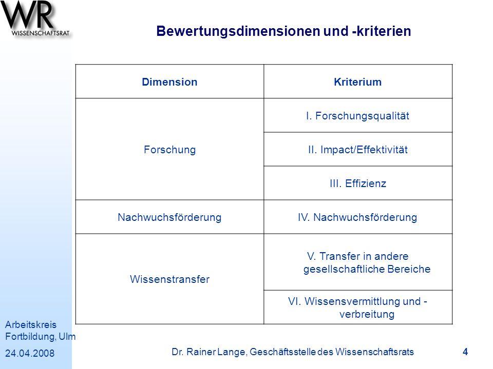 Arbeitskreis Fortbildung, Ulm 24.04.2008 Dr. Rainer Lange, Geschäftsstelle des Wissenschaftsrats 4 Bewertungsdimensionen und -kriterien DimensionKrite