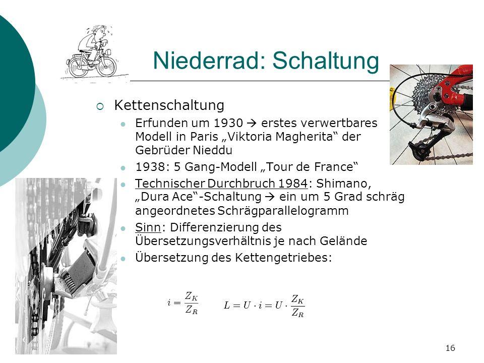 Niederrad: Schaltung Kettenschaltung Erfunden um 1930 erstes verwertbares Modell in Paris Viktoria Magherita der Gebrüder Nieddu 1938: 5 Gang-Modell T