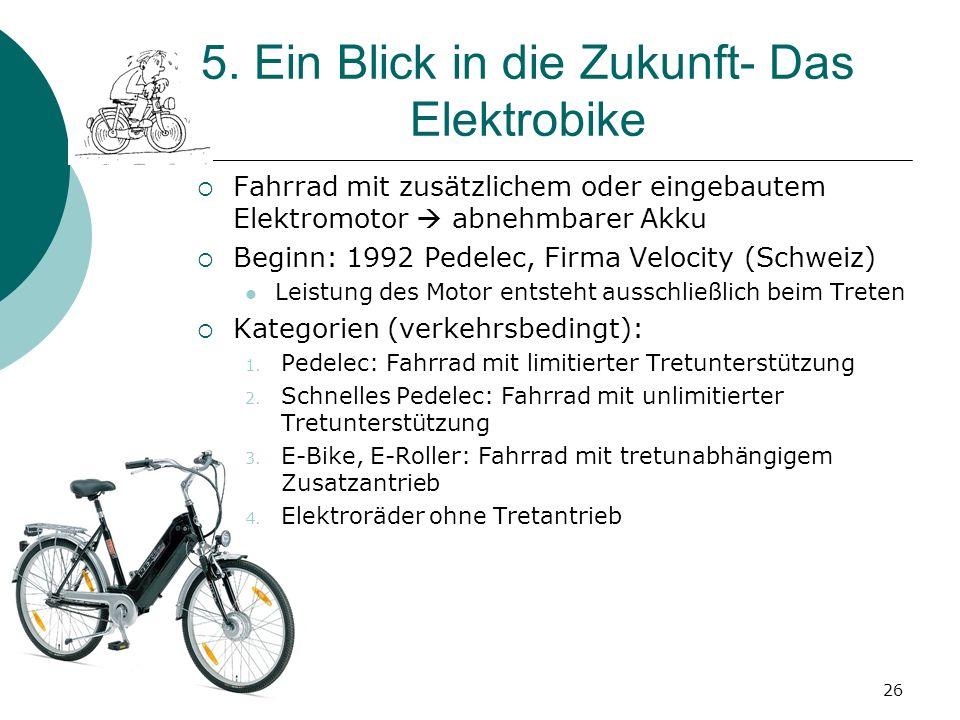 5. Ein Blick in die Zukunft- Das Elektrobike Fahrrad mit zusätzlichem oder eingebautem Elektromotor abnehmbarer Akku Beginn: 1992 Pedelec, Firma Veloc