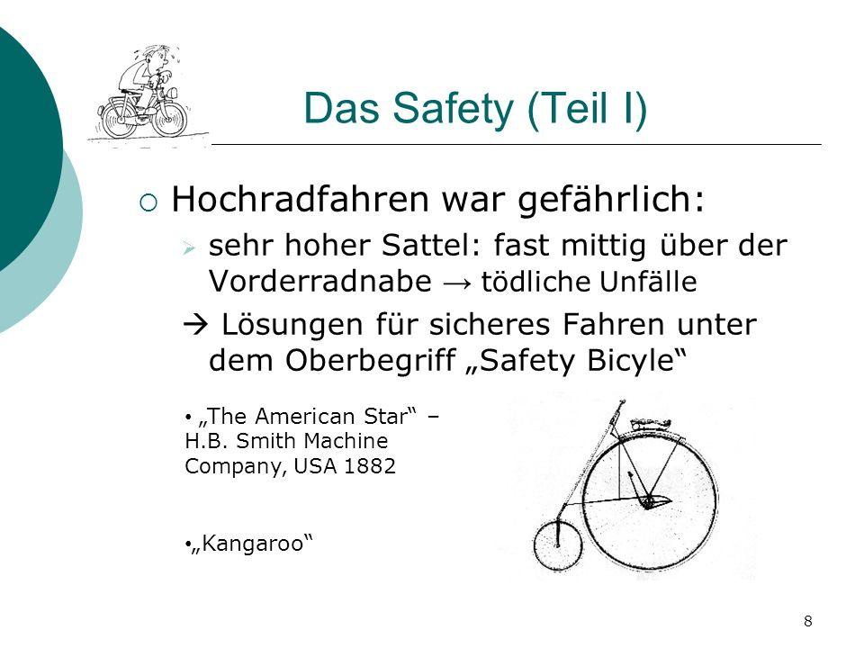 2.3 Kettenantrieb Einführung des Prinzips der Übersetzung in die Antriebstechnik 9 Kangaroo: beidseitiger Kettenantrieb am Vorderrad (Hillman, Herbert & Coopers Kangaroo, 1884) 1878: einseitiger Kettenantrieb am Hinterrad sicheres Fahren durch Entkopplung von Antrieb und Lenkung Erfindung ermöglicht das Sicherheitsniederrad