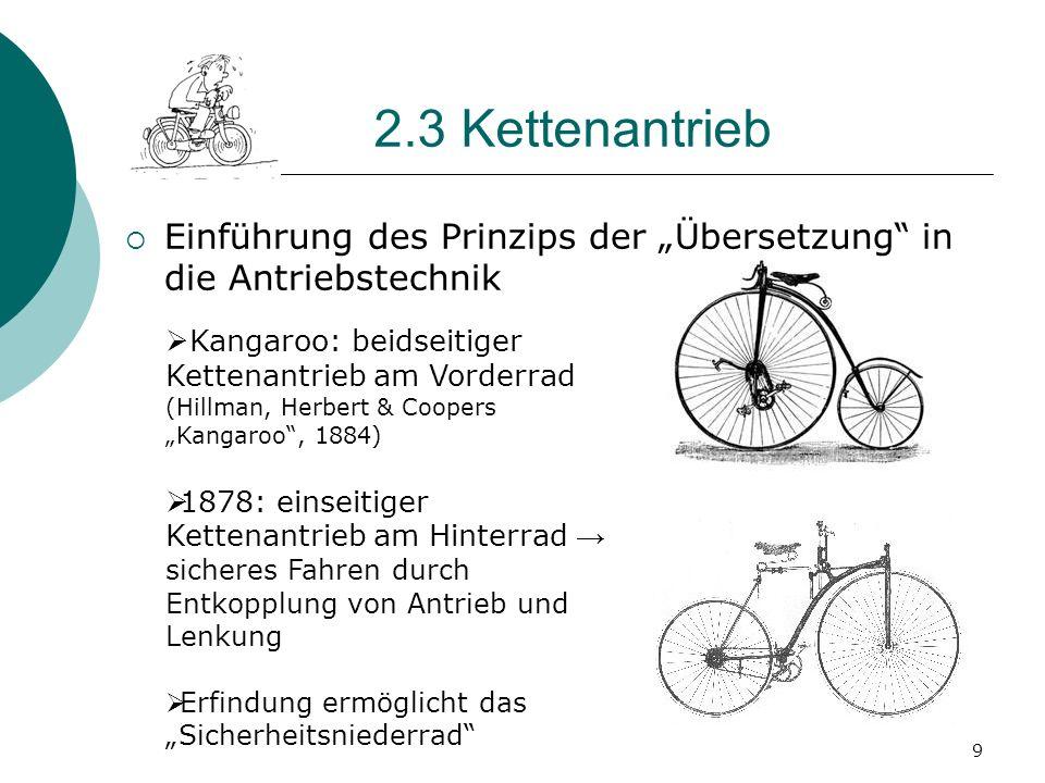 2.3 Kettenantrieb Einführung des Prinzips der Übersetzung in die Antriebstechnik 9 Kangaroo: beidseitiger Kettenantrieb am Vorderrad (Hillman, Herbert