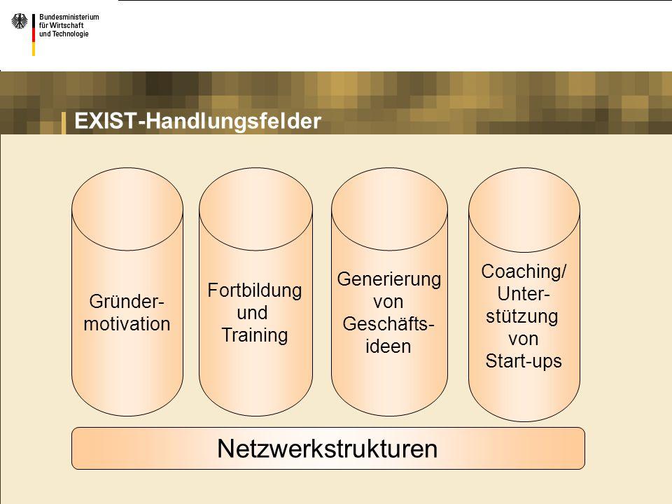 EXIST-Handlungsfelder Gründer- motivation Fortbildung und Training Generierung von Geschäfts- ideen Coaching/ Unter- stützung von Start-ups Netzwerkst