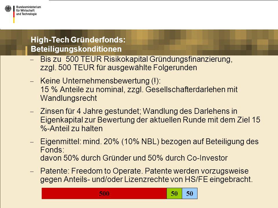 High-Tech Gründerfonds: Beteiligungskonditionen Bis zu 500 TEUR Risikokapital Gründungsfinanzierung, zzgl. 500 TEUR für ausgewählte Folgerunden Keine