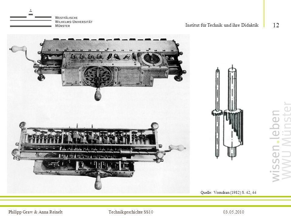 Philipp Graw & Anna Reinelt Technikgeschichte SS1003.05.2010 12 Institut für Technik und ihre Didaktik Quelle: Vorndran (1982) S. 42, 44