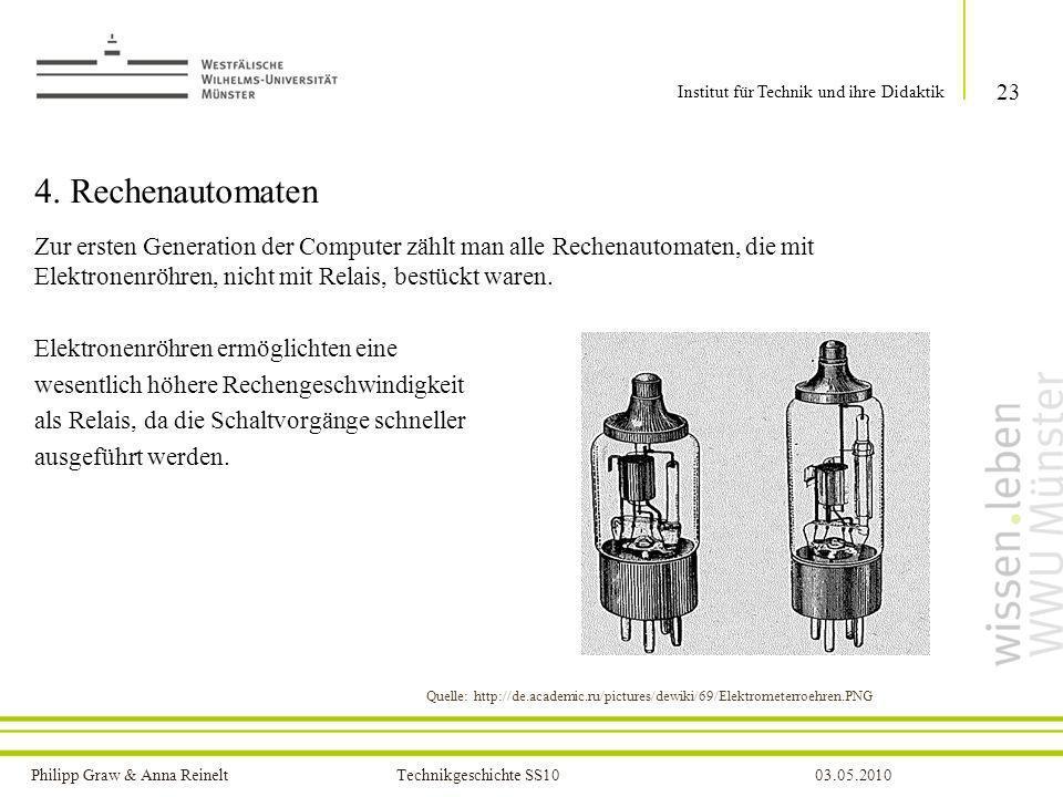 Philipp Graw & Anna Reinelt Technikgeschichte SS1003.05.2010 4. Rechenautomaten Zur ersten Generation der Computer zählt man alle Rechenautomaten, die