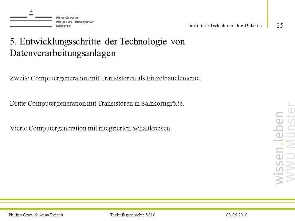 Philipp Graw & Anna Reinelt Technikgeschichte SS1003.05.2010 5. Entwicklungsschritte der Technologie von Datenverarbeitungsanlagen Zweite Computergene