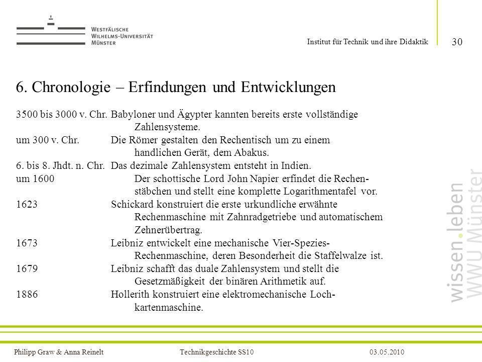 Philipp Graw & Anna Reinelt Technikgeschichte SS1003.05.2010 6. Chronologie – Erfindungen und Entwicklungen 30 Institut für Technik und ihre Didaktik