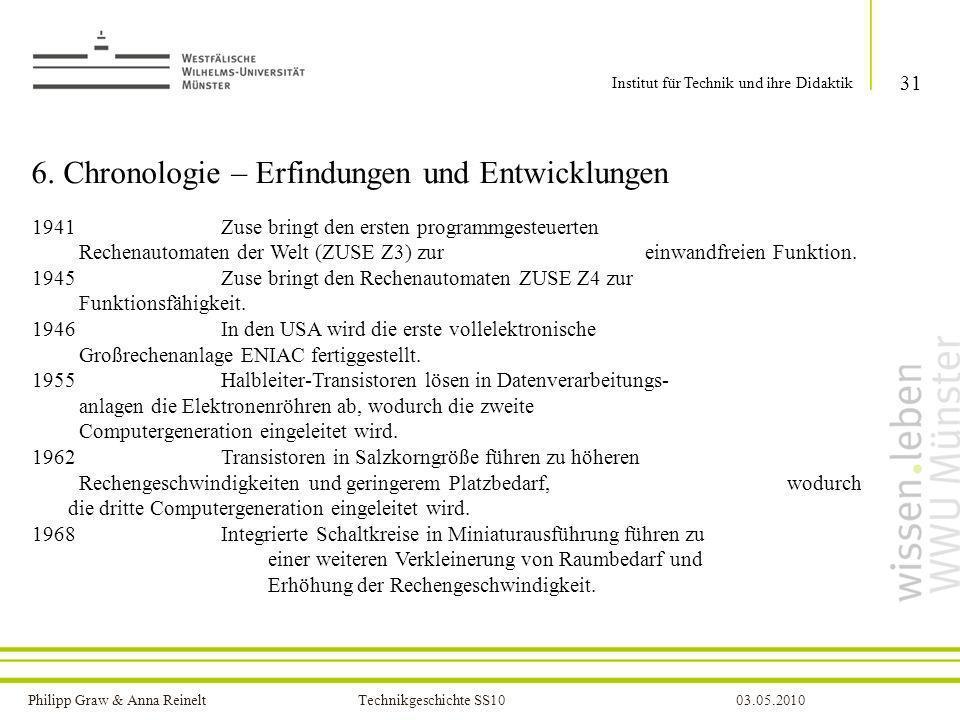 Philipp Graw & Anna Reinelt Technikgeschichte SS1003.05.2010 6. Chronologie – Erfindungen und Entwicklungen 31 Institut für Technik und ihre Didaktik