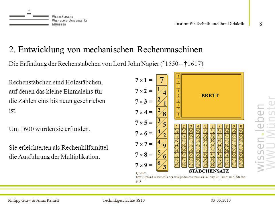 Philipp Graw & Anna Reinelt Technikgeschichte SS1003.05.2010 2. Entwicklung von mechanischen Rechenmaschinen Die Erfindung der Rechenstäbchen von Lord