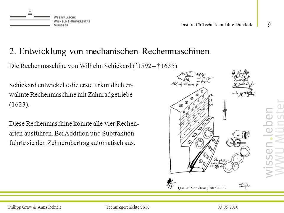 Philipp Graw & Anna Reinelt Technikgeschichte SS1003.05.2010 10 Institut für Technik und ihre Didaktik Die Rechenmaschine von Wilhelm Schickard Quelle: http://www.youtube.com/watch?v=N_uiwO8lT5c