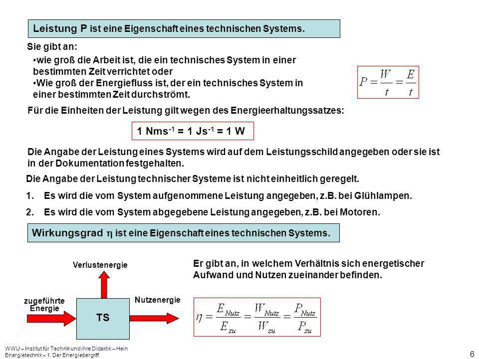WWU – Institut für Technik und ihre Didaktik – Hein Energietechnik – 1.