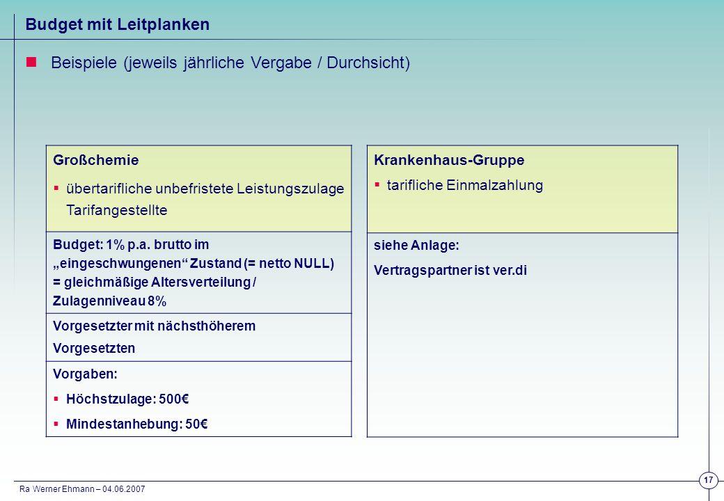 Ra Werner Ehmann – 04.06.2007 17 Großchemie übertarifliche unbefristete Leistungszulage Tarifangestellte Budget: 1% p.a. brutto im eingeschwungenen Zu