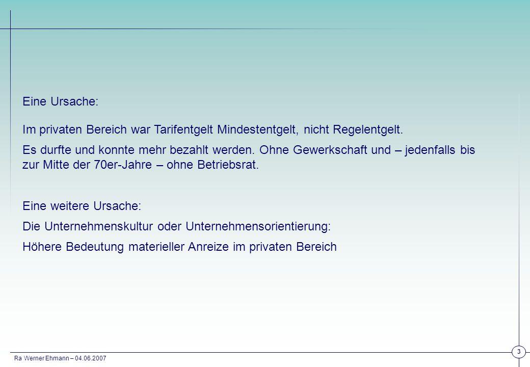 Ra Werner Ehmann – 04.06.2007 3 Eine Ursache: Im privaten Bereich war Tarifentgelt Mindestentgelt, nicht Regelentgelt. Es durfte und konnte mehr bezah