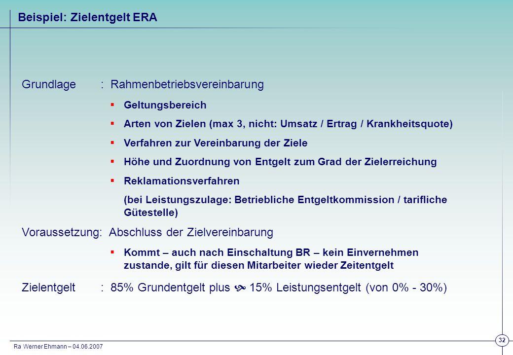 Ra Werner Ehmann – 04.06.2007 32 Grundlage: Rahmenbetriebsvereinbarung Geltungsbereich Arten von Zielen (max 3, nicht: Umsatz / Ertrag / Krankheitsquo