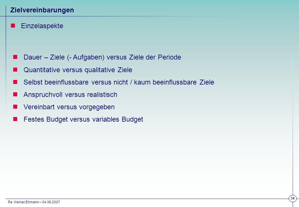 Ra Werner Ehmann – 04.06.2007 34 Zielvereinbarungen Einzelaspekte Dauer – Ziele (- Aufgaben) versus Ziele der Periode Quantitative versus qualitative