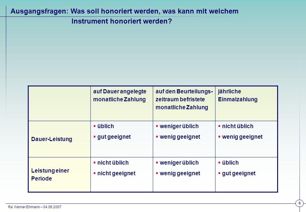 Ra Werner Ehmann – 04.06.2007 7 Erfahrungswerte: Wer Dauer – Leistung honorieren will, sollte/ kann/ wird die Zahlung nicht jährlich in Frage stellen (Beispiele: Hüls und Metall).