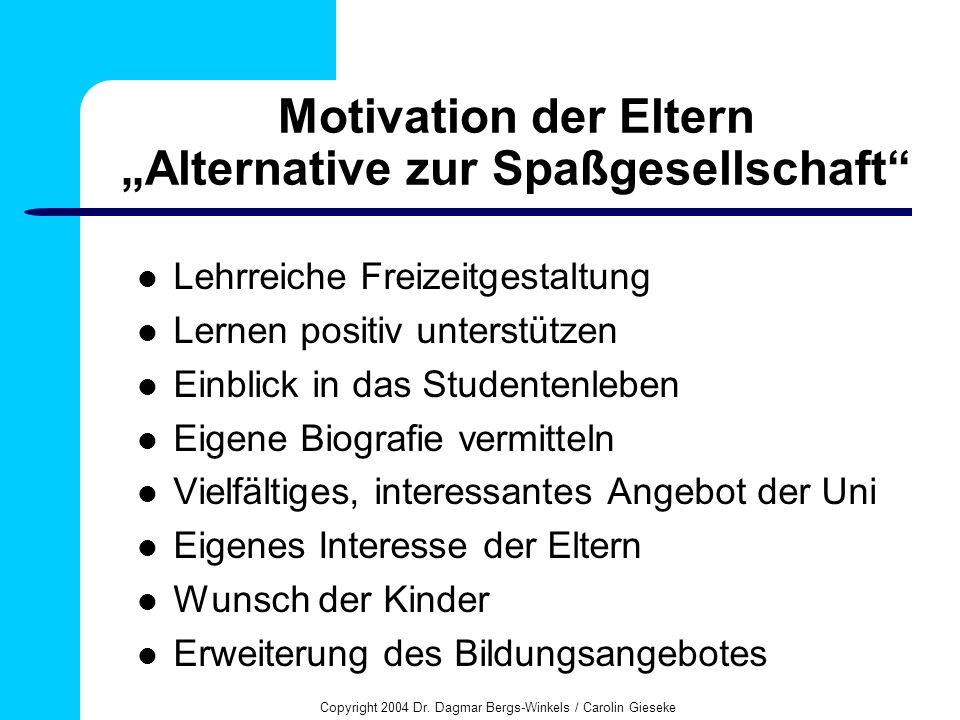 Copyright 2004 Dr. Dagmar Bergs-Winkels / Carolin Gieseke Motivation der Eltern Alternative zur Spaßgesellschaft Lehrreiche Freizeitgestaltung Lernen