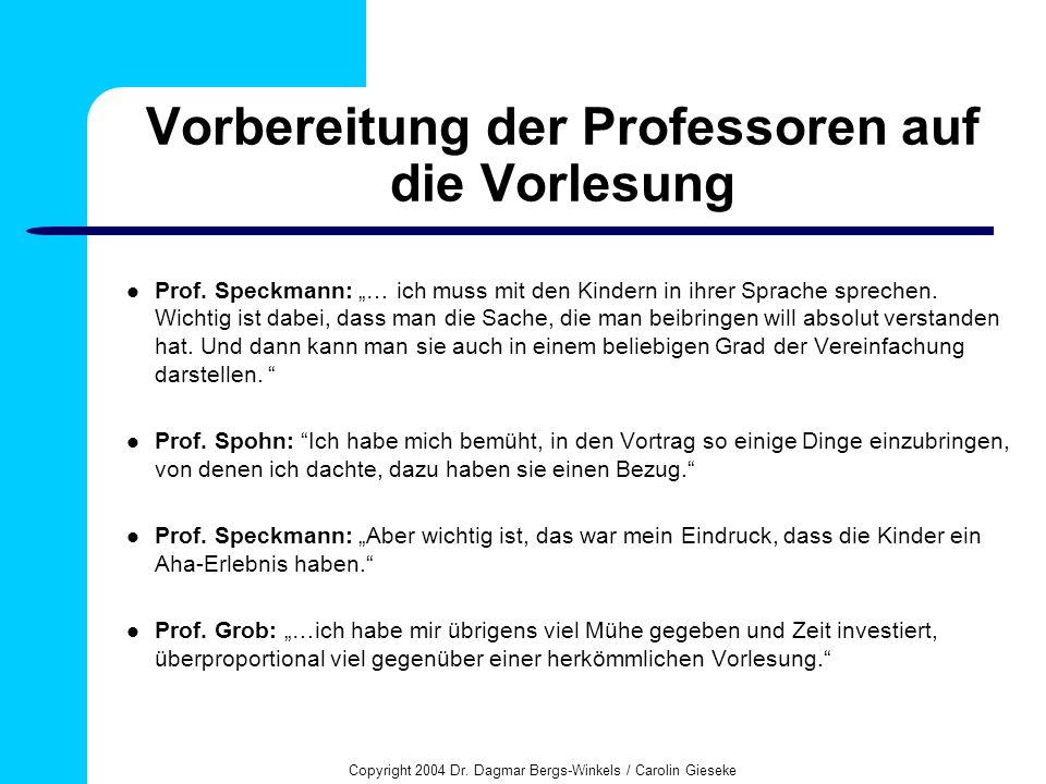 Copyright 2004 Dr. Dagmar Bergs-Winkels / Carolin Gieseke Vorbereitung der Professoren auf die Vorlesung Prof. Speckmann: … ich muss mit den Kindern i