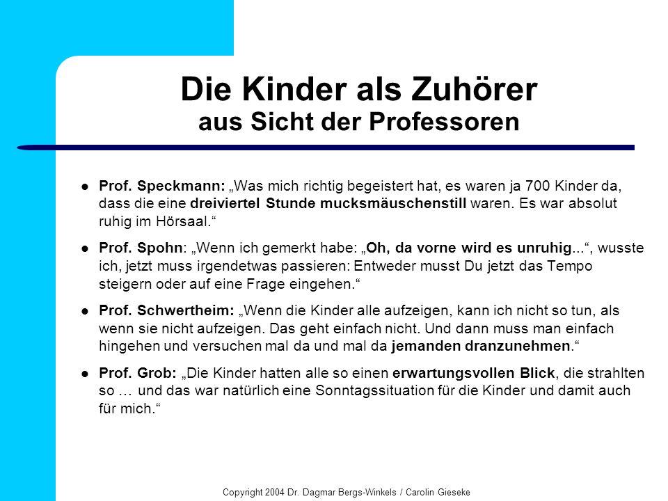 Copyright 2004 Dr. Dagmar Bergs-Winkels / Carolin Gieseke Die Kinder als Zuhörer aus Sicht der Professoren Prof. Speckmann: Was mich richtig begeister