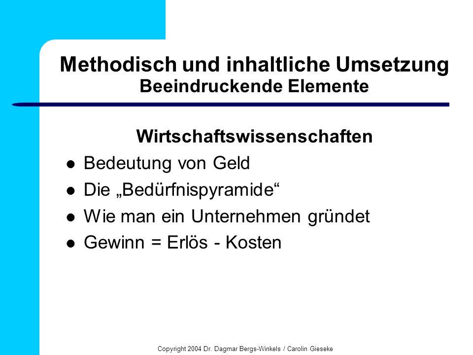 Copyright 2004 Dr. Dagmar Bergs-Winkels / Carolin Gieseke Methodisch und inhaltliche Umsetzung Beeindruckende Elemente Wirtschaftswissenschaften Bedeu