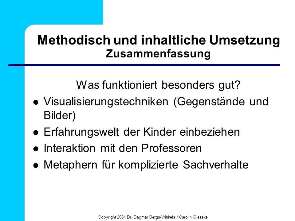Copyright 2004 Dr. Dagmar Bergs-Winkels / Carolin Gieseke Methodisch und inhaltliche Umsetzung Zusammenfassung Was funktioniert besonders gut? Visuali