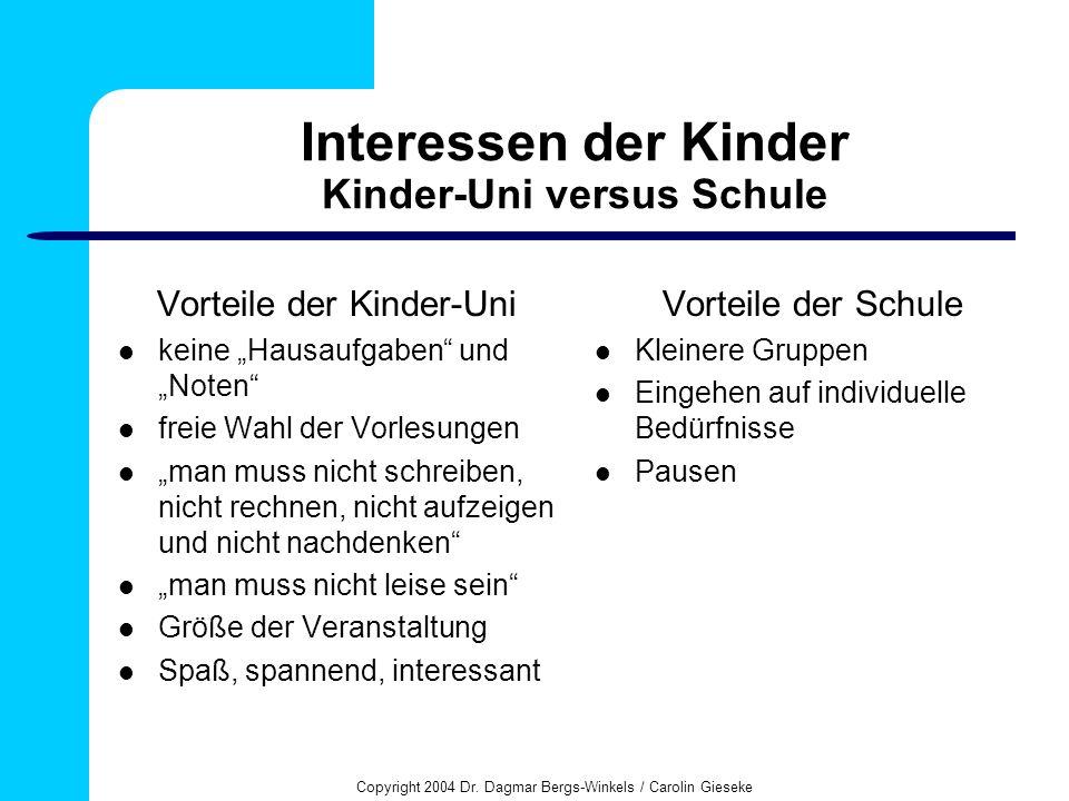 Copyright 2004 Dr. Dagmar Bergs-Winkels / Carolin Gieseke Interessen der Kinder Kinder-Uni versus Schule Vorteile der Kinder-Uni keine Hausaufgaben un