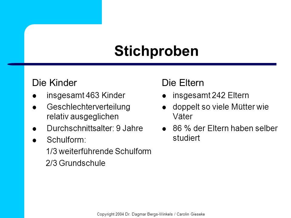 Copyright 2004 Dr. Dagmar Bergs-Winkels / Carolin Gieseke Stichproben Die Kinder insgesamt 463 Kinder Geschlechterverteilung relativ ausgeglichen Durc