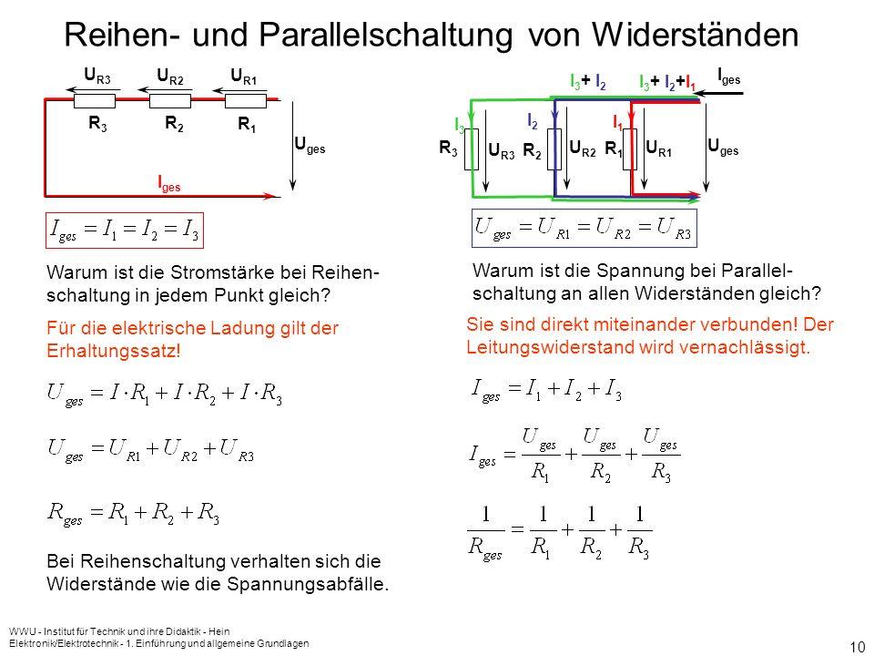 WWU - Institut für Technik und ihre Didaktik - Hein Elektronik/Elektrotechnik - 1. Einführung und allgemeine Grundlagen 9 Wird ein Widerstand von eine