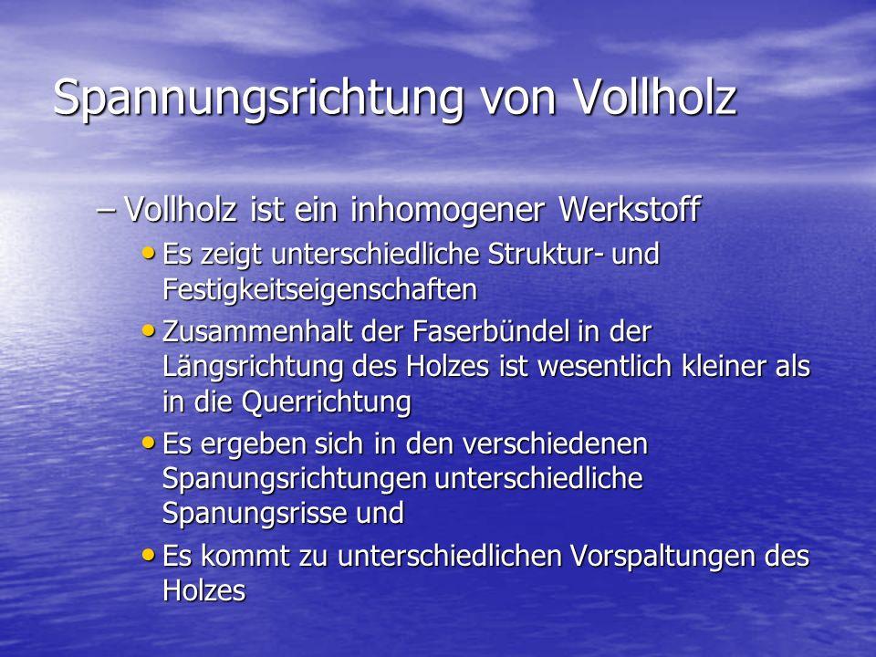 Spannungsrichtung von Vollholz –Vollholz ist ein inhomogener Werkstoff Es zeigt unterschiedliche Struktur- und Festigkeitseigenschaften Es zeigt unter