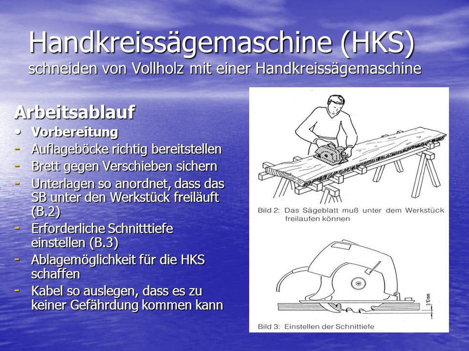 Handkreissägemaschine (HKS) schneiden von Vollholz mit einer Handkreissägemaschine Arbeitsablauf Vorbereitung Vorbereitung - Auflageböcke richtig bereitstellen - Brett gegen Verschieben sichern - Unterlagen so anordnet, dass das SB unter den Werkstück freiläuft (B.2) - Erforderliche Schnitttiefe einstellen (B.3) - Ablagemöglichkeit für die HKS schaffen - Kabel so auslegen, dass es zu keiner Gefährdung kommen kann