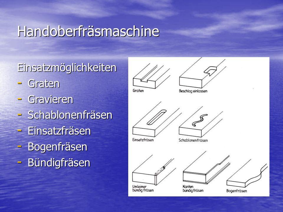 Handoberfräsmaschine Einsatzmöglichkeiten - Graten - Gravieren - Schablonenfräsen - Einsatzfräsen - Bogenfräsen - Bündigfräsen