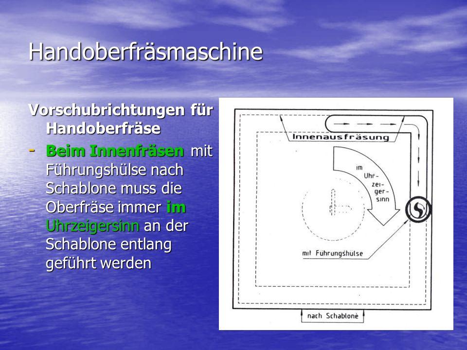 Handoberfräsmaschine Vorschubrichtungen für Handoberfräse - Beim Innenfräsen mit Führungshülse nach Schablone muss die Oberfräse immer im Uhrzeigersin