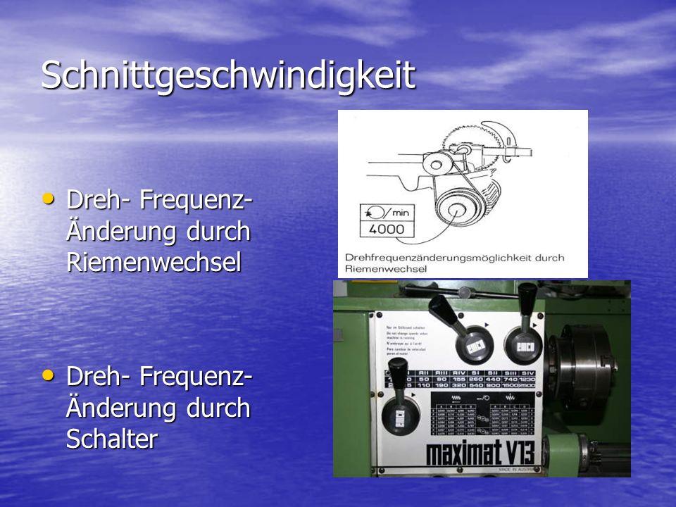 Schnittgeschwindigkeit Dreh- Frequenz- Änderung durch Riemenwechsel Dreh- Frequenz- Änderung durch Riemenwechsel Dreh- Frequenz- Änderung durch Schalt