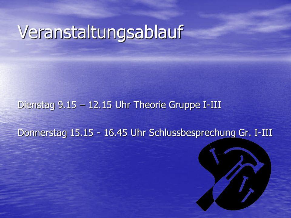 Veranstaltungsablauf Dienstag 9.15 – 12.15 Uhr Theorie Gruppe I-III Donnerstag 15.15 - 16.45 Uhr Schlussbesprechung Gr. I-III