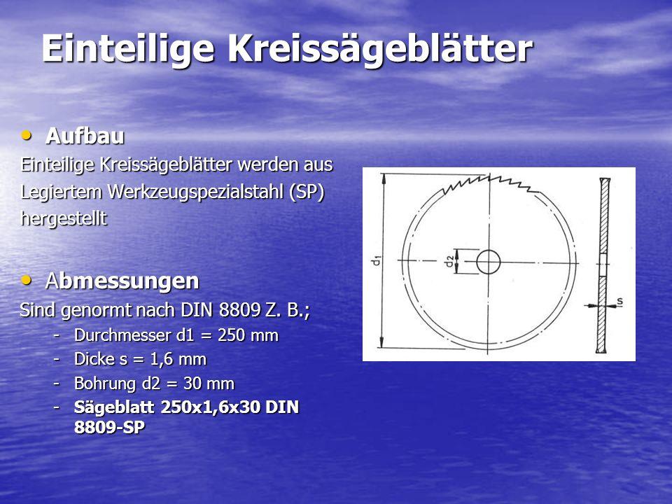 Einteilige Kreissägeblätter Aufbau Aufbau Einteilige Kreissägeblätter werden aus Legiertem Werkzeugspezialstahl (SP) hergestellt Abmessungen Abmessungen Sind genormt nach DIN 8809 Z.