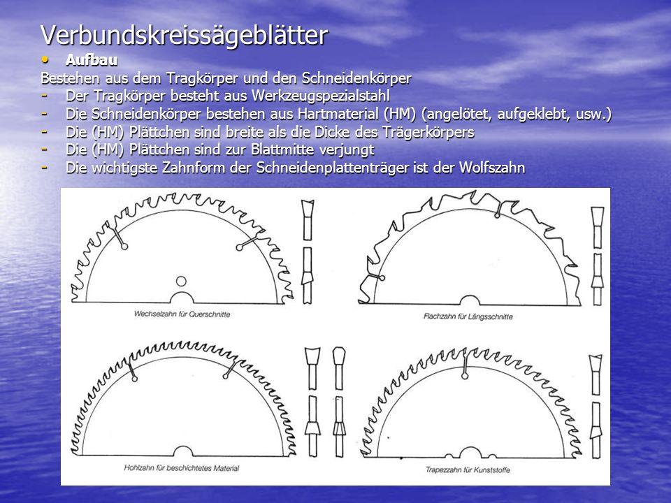 Verbundskreissägeblätter Aufbau Aufbau Bestehen aus dem Tragkörper und den Schneidenkörper - Der Tragkörper besteht aus Werkzeugspezialstahl - Die Sch