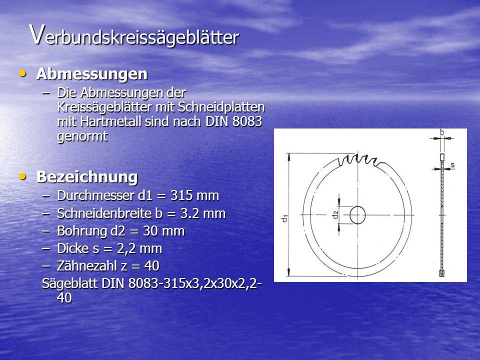V erbundskreissägeblätter Abmessungen Abmessungen –Die Abmessungen der Kreissägeblätter mit Schneidplatten mit Hartmetall sind nach DIN 8083 genormt Bezeichnung Bezeichnung –Durchmesser d1 = 315 mm –Schneidenbreite b = 3.2 mm –Bohrung d2 = 30 mm –Dicke s = 2,2 mm –Zähnezahl z = 40 Sägeblatt DIN 8083-315x3,2x30x2,2- 40
