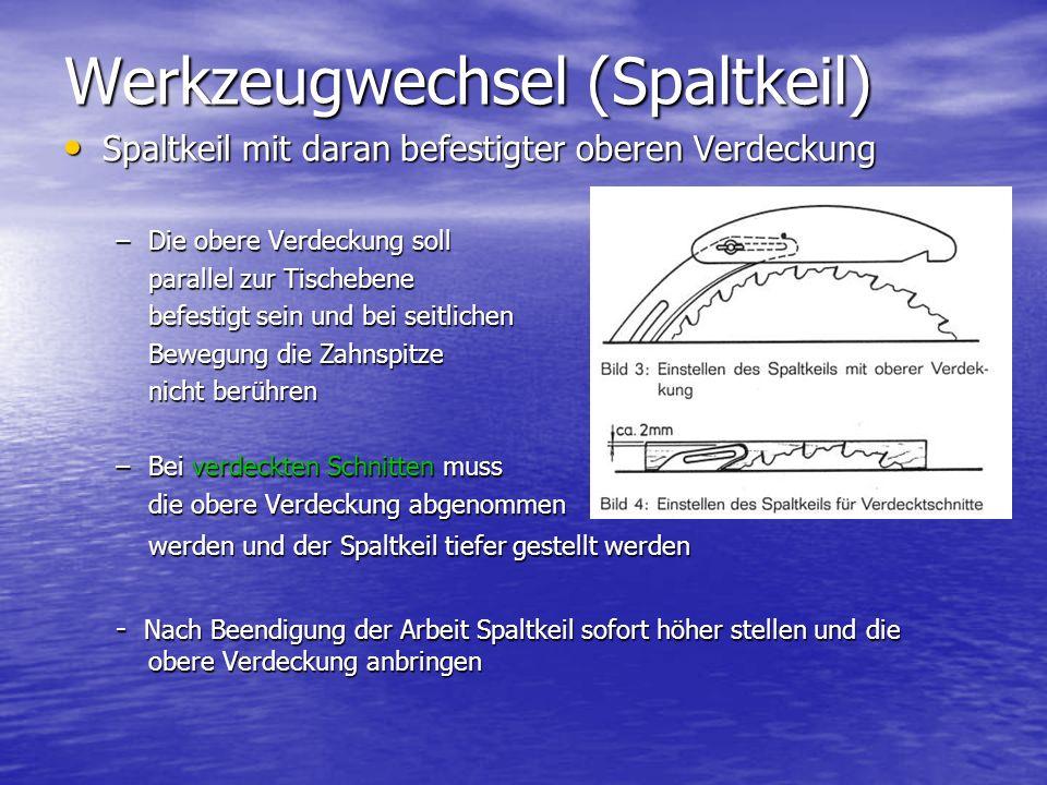 Spaltkeil mit daran befestigter oberen Verdeckung Spaltkeil mit daran befestigter oberen Verdeckung –Die obere Verdeckung soll parallel zur Tischebene