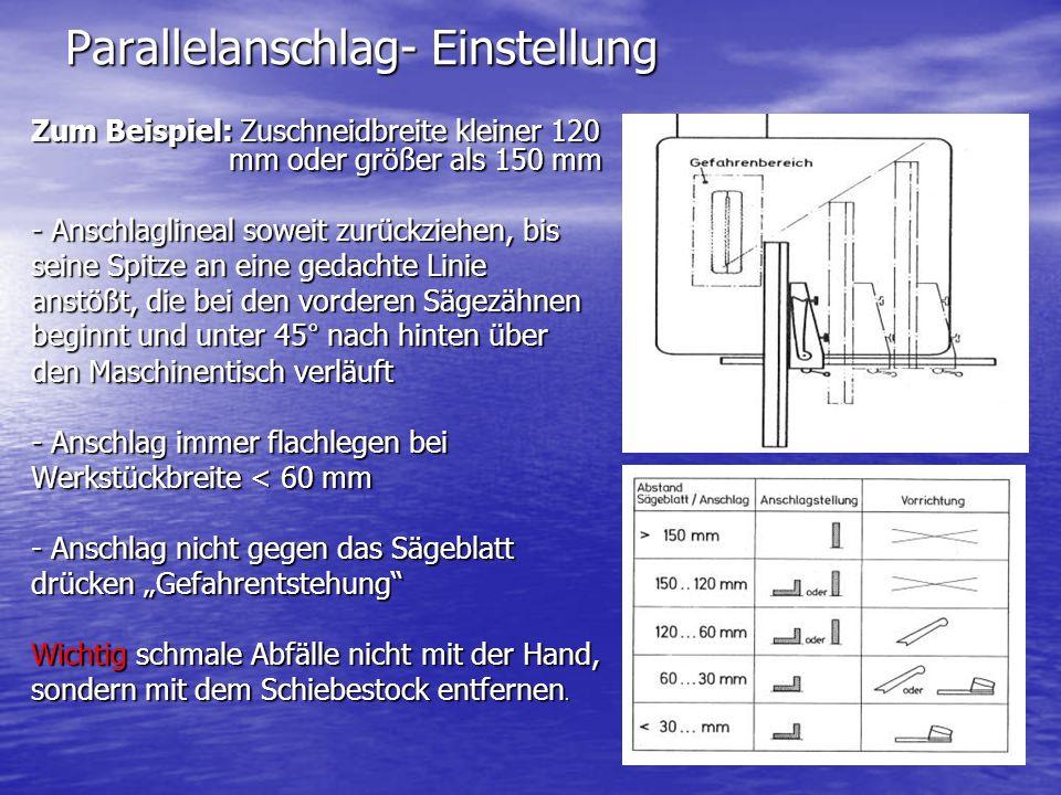 Parallelanschlag- Einstellung Zum Beispiel: Zuschneidbreite kleiner 120 mm oder größer als 150 mm - Anschlaglineal soweit zurückziehen, bis seine Spit