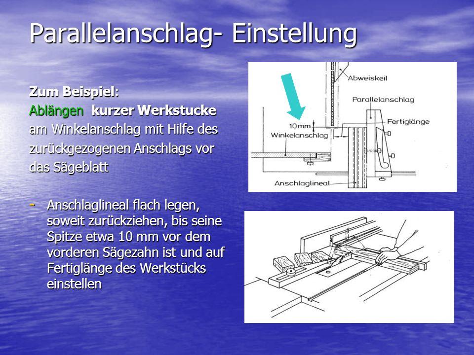 Parallelanschlag- Einstellung Zum Beispiel: Ablängen kurzer Werkstucke am Winkelanschlag mit Hilfe des zurückgezogenen Anschlags vor das Sägeblatt - A