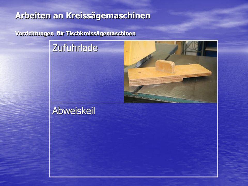 Arbeiten an Kreissägemaschinen Vorrichtungen für Tischkreissägemaschinen Zufuhrlade Abweiskeil