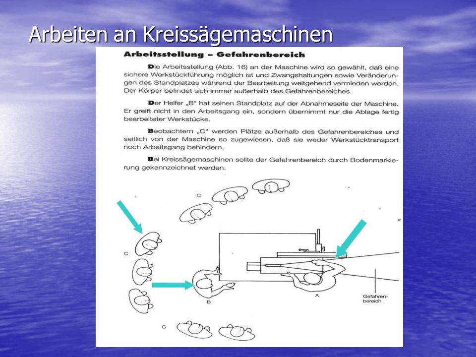 Arbeiten an Kreissägemaschinen