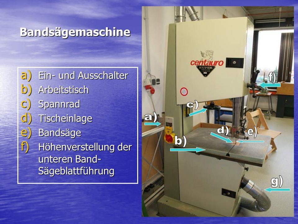 Bandsägemaschine a) Ein- und Ausschalter b) Arbeitstisch c) Spannrad d) Tischeinlage e) Bandsäge f) Höhenverstellung der unteren Band- Sägeblattführun