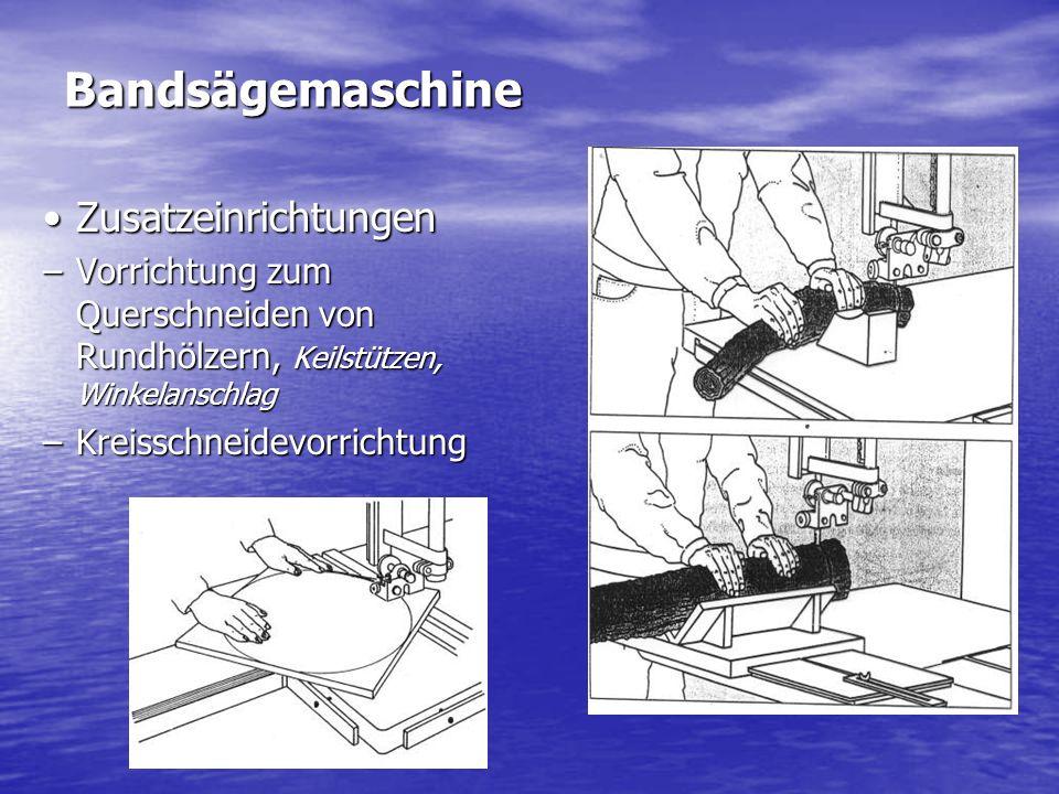 Bandsägemaschine ZusatzeinrichtungenZusatzeinrichtungen –Vorrichtung zum Querschneiden von Rundhölzern, Keilstützen, Winkelanschlag –Kreisschneidevorr
