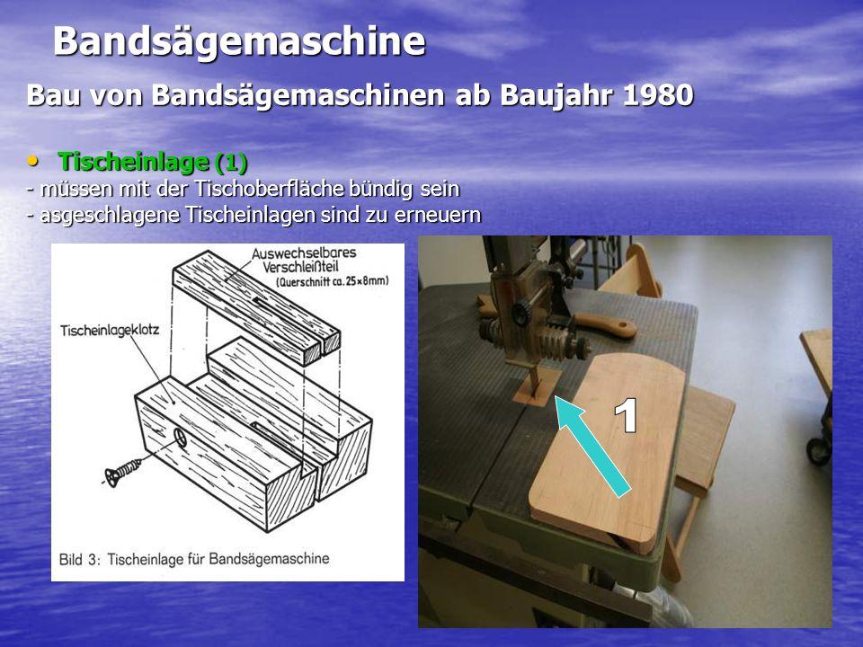 Bandsägemaschine Bau von Bandsägemaschinen ab Baujahr 1980 Tischeinlage (1) Tischeinlage (1) - müssen mit der Tischoberfläche bündig sein - asgeschlagene Tischeinlagen sind zu erneuern