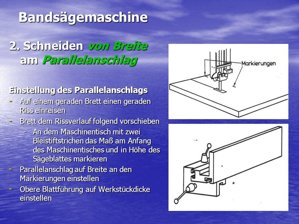 Bandsägemaschine 2. Schneiden von Breite am Parallelanschlag Einstellung des Parallelanschlags - Auf einem geraden Brett einen geraden Riss einreisen