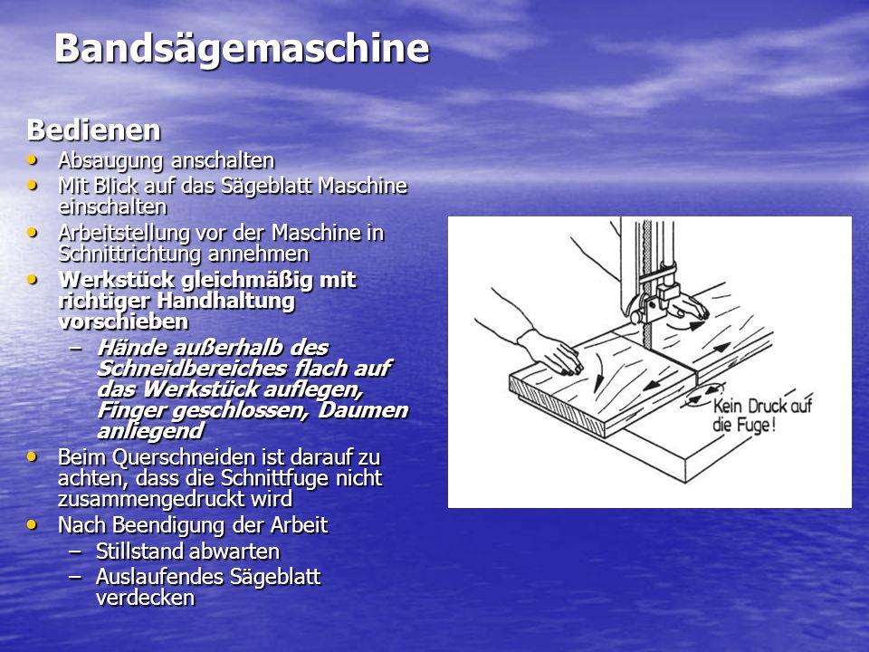 BandsägemaschineBedienen Absaugung anschalten Absaugung anschalten Mit Blick auf das Sägeblatt Maschine einschalten Mit Blick auf das Sägeblatt Maschi